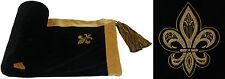 Monarch Noir or brodé à glands Jeté de lit 140cm x 180cm # syledruelf Riv