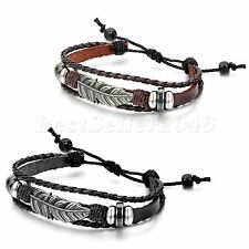 2pcs Tribal Feather Leather Surfer Men Women Adjustable Cuff Wristband Bracelet