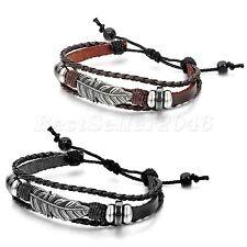 2pcs Tribal Feather Leather Surfer Men Women Adjustable Cuff Wristband Bracelet