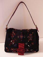 Fendi Mama Forever Black Beaded Red  Lizard Bag