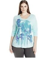 Just My Size JMS Plus Size Trees Mint Tee Shirt Long Sleeve Top 1X  2X 3X 4X NWT