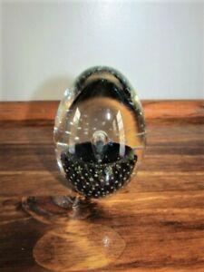 Robert Eickholt Signed 1988 Dichroic Egg Shaped Blown Art Glass Paperweight