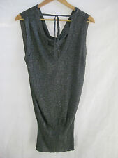 Size 14 L Silver sparkles grey sleeveless  top by Italian designer OLTRE