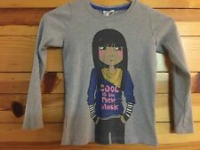 """Mini Boden """"Cool Is The New Black"""" Top Girls Shirt with Girl on Front Size 7-8Y"""