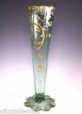 Antique Gold Gilt Enameled Green Glass Applied Foot Vase 12""