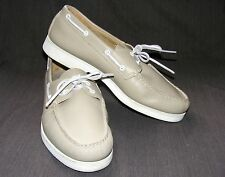 HITCHCOCK BOAT SHOES, Beige Leather 2-hole Laces White Sole Moccasin, Size 11