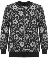 New Plus Size Ladies Womens Zip Front Floral Lace Bomber Jacket Coat 14-28