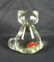 Vintage Murano Style Clear Art Glass Cat with Fish Goldfish in Its Stomach Belly