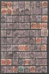 144 -QV Surface Printed Lilac & Vermillion - Numerical Postmarks Collection