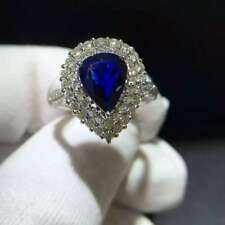3Ct Pear Cut Simulant Blue Sapphire & Diamond Double Halo Ring Silver Gold Finsh