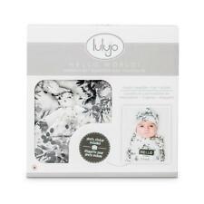 Lulujo Hello World Black Floral Swaddling Blanket Hat Announcement Sticker BNWT