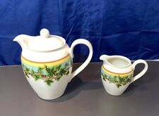 Rosenthal Versace Casual Green Ivy Leaves Passion Coffee Pot + Creamer NEW