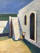 """Hot Afternoon In Greece, Acrylic On Canvas Painting By Anita Benson 30x40"""""""