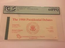 1988 The Second Presidential Debate Ticket George Bush vs. Michael Dukakis PCGS
