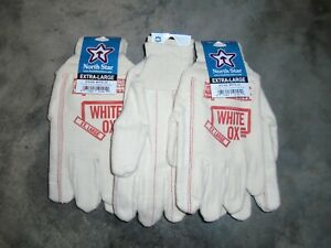 North Star 1014 White Ox Work Gloves size X-Large made in the USA 3 Pair