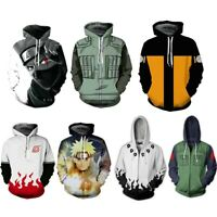Anime Naruto0 Hokage Uzumaki Hoodies Sweater Men Zip Sweatshirt Jacket Pullover