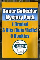 MCC SUPER COLLECTOR MYSTERY PACK - 20 CARDS 1 GRADED 3 HITS - NFL MLB NBA *READ*
