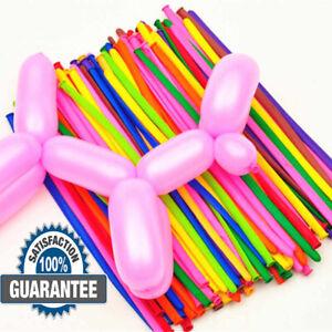 100X Magic Long Ballons Assorted Colour Twist Making Animals Latex Baloon UK