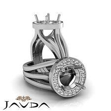 Diamond Engagement Ring Round Semi Mount 18k White Gold Halo Pave Setting 0.4Ct