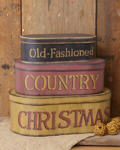 "3 PC NESTING BOXES STORAGE ORGANIZER OLD FASHIONED COUNTRY CHRISTMAS 15 1/4"" L"