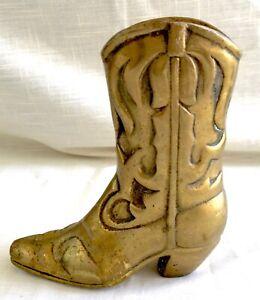 Vintage Solid Brass Cowboy Boot Vase/Holder - Western Decor