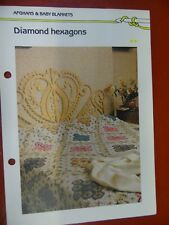 Diamond Hexagon Patchwork Afghan crochet PATTERN INSTRUCTIONS FREE SHIPPING