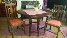 Vintage Twist Legged Coffee Table With Fold Down Extendable Sides + 2 chair