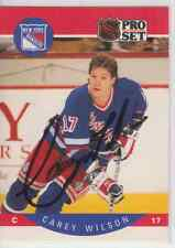 Autographed 90/91 Pro Set Carey Wilson - Rangers