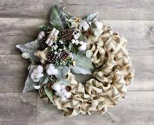 Modern Farmhouse Winter Chevron Burlap Christmas Wreath in Eucalyptus & Greenery