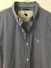 Canterbury Mens Cotton Shirt Size XL Navy Blue Check VGC