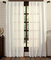 Tobacco Cloth Antique White Window Panel SET Farmhouse Primitive Curtain Fringe