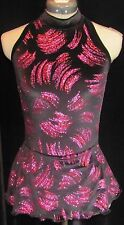 BLACK PINK RED SPARKLE Ice Figure Skating Competition Dress CHILD LARGE 12 / 14