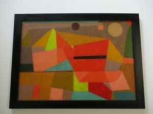 MID CENTURY ABSTRACT PAINTING MYSTERY URBAN MOD COLORFUL CUBIST CUBISM 1950'S