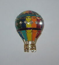 Hot Air Balloon Pin Gold Tone Crystal Accents New Ropes Blue Green Yellow Red