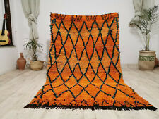 "Moroccan Vintage Handmade Carpet 4'7""x7'5""  Tribal Berber Geometric Orange Rug"