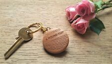 A Round Tuit, wooden Keyring collectable present birthday house funny Christmas