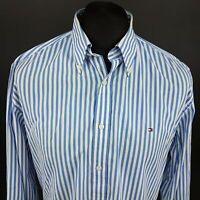 Tommy Hilfiger Mens Shirt LARGE Long Sleeve Blue Regular Fit Striped Cotton