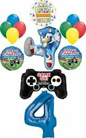 Sonic the Hedgehog Party Supplies 4th Birthday Balloon Bouquet Decorations 14pc