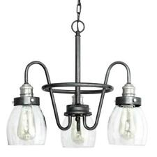 Progress Lighting Crofton 3-Lt. Rustic Pewter Chandelier w/Brushed Nickel Accent
