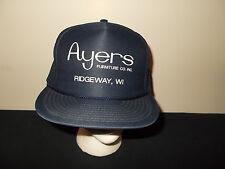VTG-1980s Ayers Furniture Company Ridgeway Wisconsin trucker snapback hat sku34
