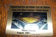 DELUXE JOE ROBBIE  SUN LIFE Stadium seat PLAQUE MIAMI DOLPHINS MARLINS