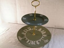 """Wedgwood Jasper Ware  """"Green """" Cake Stand with Gold fittings, Superb !!!."""