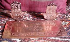 Moroccan copper colour hand engraved  (tooth brush) shelf  with two hands