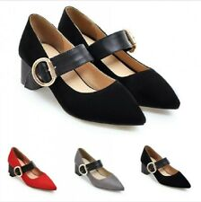 Womens Pointy Toe Ankle Strap Chunky Heel OL Office Party Casual Shoes 34/43 B