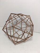 "Retro Copper Toned Geometric Metal Sculpture 7.5"" Home Office Decor"