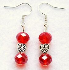 Red Crystal Earrings Sterling Silver Hooks New Drop Dangle Style Sparkle LB247