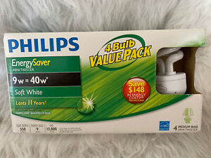 4 Phillips Energy Saver 40W soft white only 9 watts replaces 40 CFL mini twister