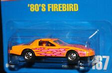 Hot Wheels '80's Firebird Blue Card #167 Orange bw w/lightning bolts!
