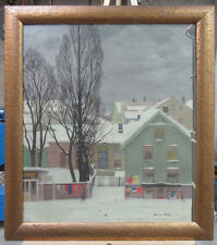 Johannes Kolbel '34 Modernist Ptg of Oslo in Snow Listed Norway Norwegian Artist