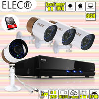 8CH AHD 1080P DVR 4x2000TVL IR Outdoor CCTV Security Camera System Kit 4CH 1TB